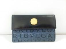 BVLGARI(ブルガリ) 名刺入れ美品  ロゴマニア ネイビー×黒
