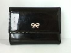 アニヤハインドマーチ 3つ折り財布 黒 エナメル(レザー)