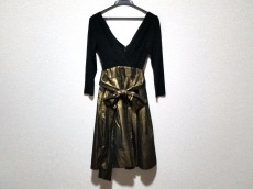 DKNY(ダナキャラン) ドレス レディース 黒×ゴールド カシュクール