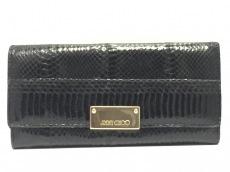 JIMMY CHOO(ジミーチュウ) 長財布 - 黒 型押し加工 レザー