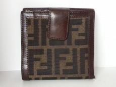 FENDI(フェンディ) 2つ折り財布 ズッカ柄 ブラウン×ダークブラウン