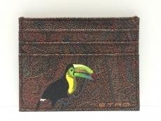 エトロ カードケース美品  ボルドー×マルチ PVC(塩化ビニール)