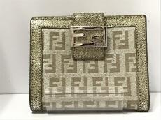 フェンディ Wホック財布 ズッキーノ柄 8M0188 シルバー×ゴールド