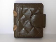 シャネル 2つ折り財布 カンボンライン カーキ×ベージュ レザー