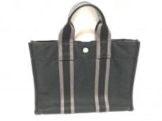 エルメス トートバッグ フールトゥトートPM 黒×グレー キャンバス
