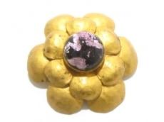 シャネル ブローチ美品  金属素材×ガラス ゴールド×黒×パープル