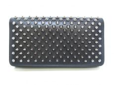 クリスチャンルブタン 長財布 マカロン 1165076 黒×シルバー レザー
