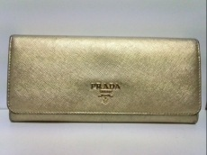 PRADA(プラダ) 長財布 - 1M1132 ゴールド レザー