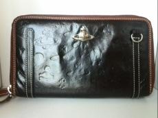 ヴィヴィアンウエストウッド 財布 黒×ブラウン レザー
