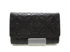LOEWE(ロエベ) 2つ折り財布美品  - 143.65.I62 黒 型押し加工 レザー