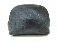 GUCCI(グッチ) ポーチ美品  シマライン 141810 黒 レザー