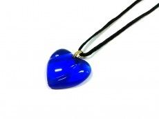 バカラ ネックレス クリスタルガラス×化学繊維 ブルー×黒 ハート