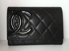 CHANEL(シャネル) 2つ折り財布 カンボンライン 黒 ラムスキン