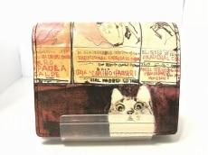 マンハッタナーズ 2つ折り財布美品  ボルドー×マルチ ネコ レザー