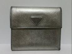 PRADA(プラダ) 3つ折り財布 - シルバー レザー