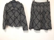 ユキコハナイ スカートスーツ サイズ10 L レディース グレー×白×黒