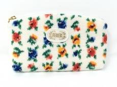 FEILER(フェイラー) ポーチ新品同様  白×マルチ 花柄 パイル