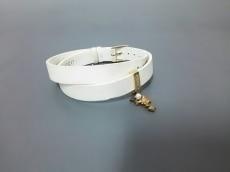 ミキモト ブレスレット レザー 白×ゴールド スター/パール