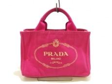 PRADA(プラダ) トートバッグ CANAPA ピンク×アイボリー キャンバス
