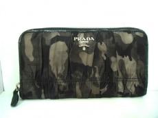 プラダ 長財布 - 黒×カーキ 迷彩柄/ラウンドファスナー ナイロン