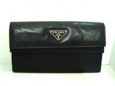 PRADA(プラダ) 長財布 - 黒 ナイロン×レザー
