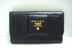 PRADA(プラダ) キーケース - 黒 6連フック/リボン レザー