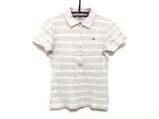 ラコステ 半袖ポロシャツ レディース ライトグレー×白×ピンク