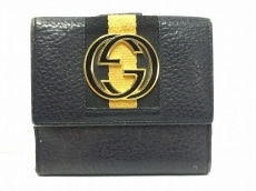 グッチ Wホック財布 ダブルG 131020 黒×ベージュ×ゴールド レザー