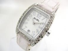 フォリフォリ 腕時計 - レディース ラインストーン/革ベルト 白