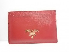 PRADA(プラダ) カードケース - レッド レザー