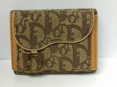 クリスチャンディオール 3つ折り財布 ロゴグラム ジャガード×レザー