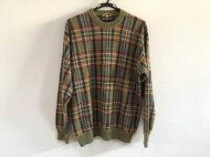 HERMES(エルメス) 長袖セーター メンズ グリーン×マルチ チェック柄