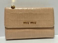 miumiu(ミュウミュウ) 3つ折り財布 - ライトピンク 型押し加工