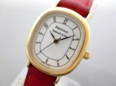 ティファニー 腕時計美品  ポートフォリオ - レディース 革ベルト 白