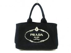 プラダ トートバッグ CANAPA BN1877 黒×アイボリー キャンバス