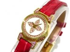ヴィトン 腕時計 タンブールビジュ Q15150 レディース 白×ピンク