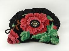 FEILER(フェイラー) ポーチ 黒×ピンク×マルチ フリル/花柄 パイル
