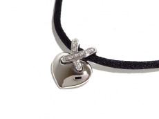 ショーメ チョーカー美品  リアン K18WG×ダイヤモンド×化学繊維 黒