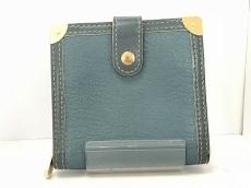 ルイヴィトン 2つ折り財布 スハリ コンパクトジップ M91829 ブルー