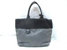 プラダ ハンドバッグ - 黒×ダークグレー 革タグ ナイロン×レザー
