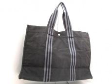 エルメス トートバッグ フールトゥトートGM 黒×グレー キャンバス