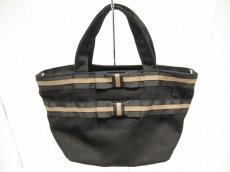 トッカ ハンドバッグ 黒×ベージュ リボン キャンバス×化学繊維