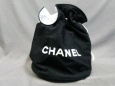 CHANEL(シャネル) バッグ - 黒×白 巾着型/ノベルティ コットン