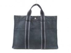 エルメス ハンドバッグ フールトゥトートMM 黒×グレー キャンバス