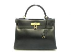 エルメス ハンドバッグ ケリー32 黒 内縫い/ゴールド金具 タデラクト