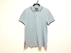 プラダスポーツ 半袖ポロシャツ サイズL メンズ グレー×白×黒