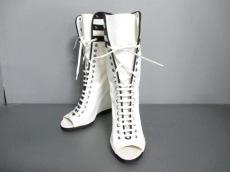 シャネル ブーツ 37 レディース 白×黒 キャンバス×ナイロン