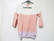 レディ 七分袖カットソー サイズF レディース ピンク×白×パープル