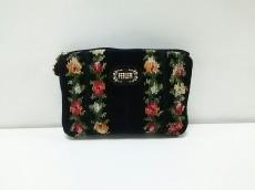 FEILER(フェイラー) ポーチ美品  黒×レッド×マルチ 花柄 パイル