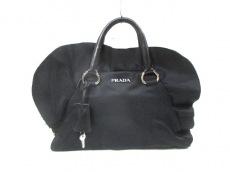 PRADA(プラダ) ハンドバッグ - 黒 革タグ/フリル ナイロン×レザー